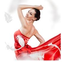 Женский шаблон - В красном платье.